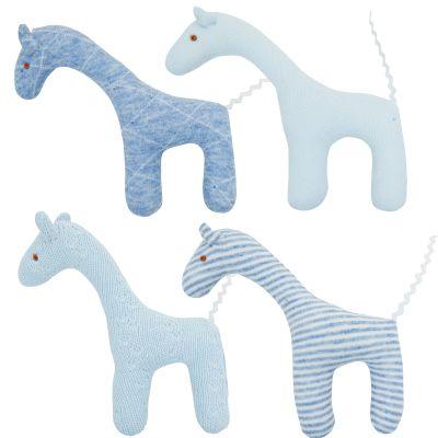Lot de 4 hochets uniques girafe bleu (12 cm)