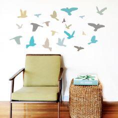 Stickers Oiseaux bleu