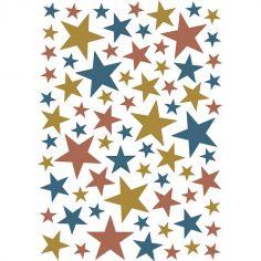Stickers étoiles doré et bleu pétrole (29,7 x 42 cm)