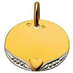 Médaille ovale Coeur perlé (or jaune 750°)