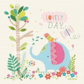 Tableau Safari Princess by Paper & Cloth Little elephant (40 x 40 cm) - Lilipinso