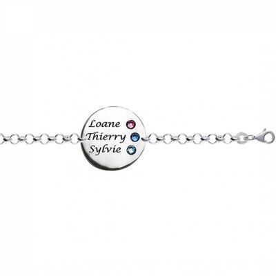 Bracelet jeton avec Swarovski (argent 925°)  par Louis de l'Ange