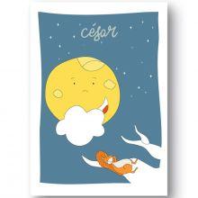 Affiche Lune Douce nuit personnalisable (21 x 29,7 cm)  par Ourson d'Avril