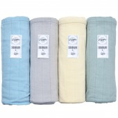 Lot de 4 maxi langes Scandi Solid bleu, gris, jaune, vert (120 x 120 cm) - Lodger