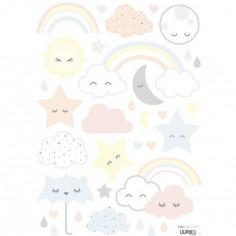 Planche de stickers A3 nuages,étoiles et arc-en-ciel rieurs