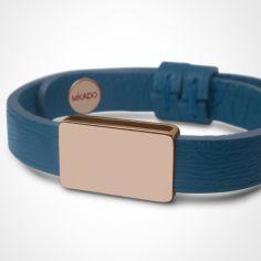 Bracelet cuir Hip-Hop Bleu jean (or rose 750° et cuir)