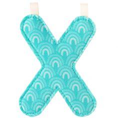 Lettre en tissu à suspendre réversible X (9,5 cm)