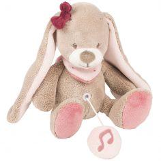 Mini doudou musical à suspendre Nina le lapin (21 cm)