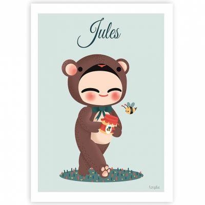 Affiche A4 Les adorables costumés L'ours (personnalisable)  par Kanzilue
