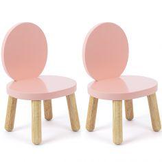 Lot de 2 petites chaises Ovaline roses