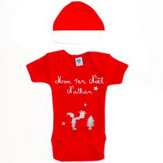 Ensemble body et bonnet Mon premier Noël rouge à manches courtes personnalisable (0-6 mois)