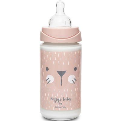 Biberon en verre Hygge Baby moustaches lapin rose (240 ml)  par Suavinex