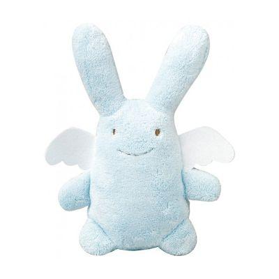 Hochet Ange lapin bleu ciel et pochette de rangement en coton (20 cm)  par Trousselier
