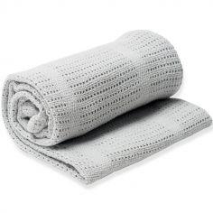 Couverture bébé tricot grise (80 x 100 cm)
