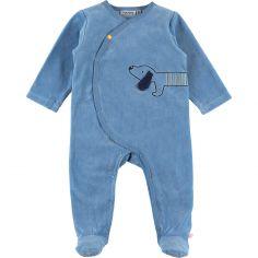 Pyjama chaud en velours Aston & Jack chien bleu (1 mois)