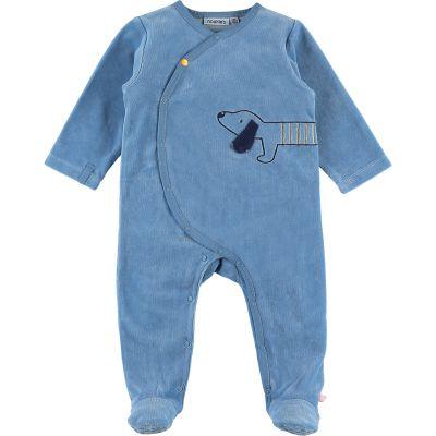 Pyjama chaud en velours Aston & Jack chien bleu (1 mois)  par Noukie's