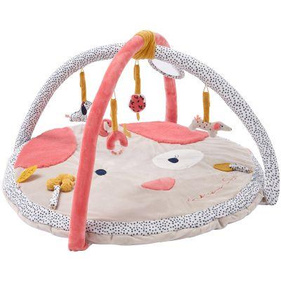 Tapis d'éveil en véloudoux avec arches Amy & Zoé chien rose (90 cm)  par Noukie's