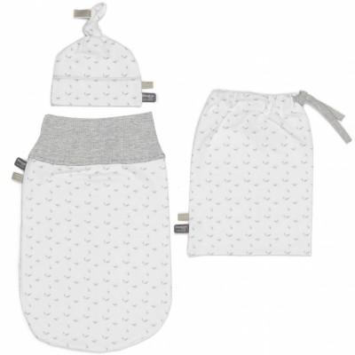 Ensemble sac de nuit bustier, bonnet et sac Lovely Grey (0-3 mois)  par Snoozebaby