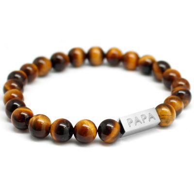 Bracelet papa perle oeil de tigre personnalisable (acier) Petits trésors
