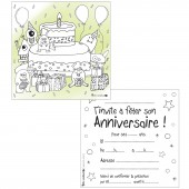 Lot de 10 cartes d'invitations à colorier monstres de l'espace - Petits canaillous