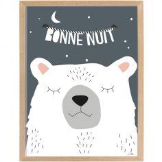 Affiche encadrée ours Bonne nuit (30 x 40 cm)