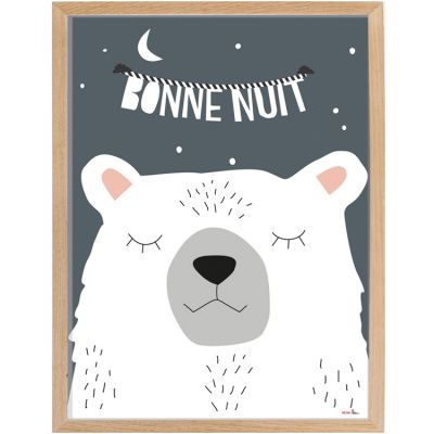 Affiche encadrée ours Bonne nuit (30 x 40 cm)  par Mimi'lou