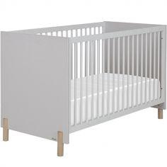 Lit bébé gris clair sablé Eliott (70 x 140 cm)