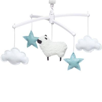 Mobile musical mouton bleu (mélodie au choix)  par Pouce et Lina