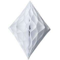 Losange en papier alvéolé blanc