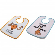 Lot de 2 bavoirs à velcro Monsieur Chatouille