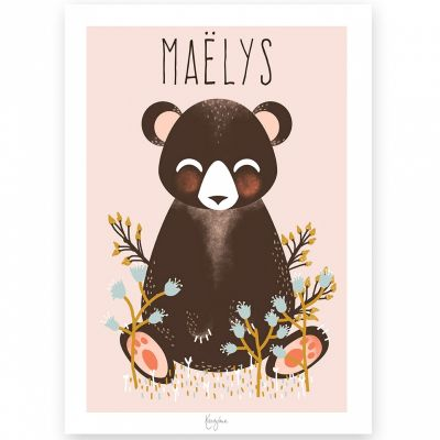 Affiche A3 Les Animignons l'ours rose (personnalisable)  par Kanzilue