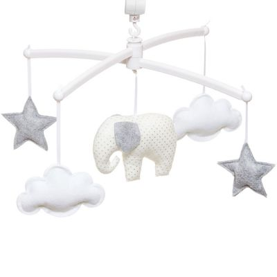 Mobile musical éléphant blanc et gris (mélodie au choix)  par Pouce et Lina