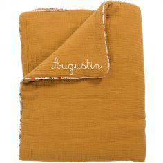 Couverture en coton ocre Les Jolis trop beaux personnalisable (90 x 69 cm)