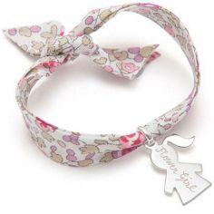 Bracelet maman Liberty avec petite fille personnalisable (argent 925°)
