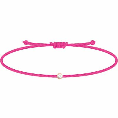 Bracelet diamant Mon Petit Diam's rose fluo (plaqué or rose)  par My First Diamond