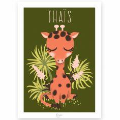 Affiche A4 Les Animignons la girafe (personnalisable)