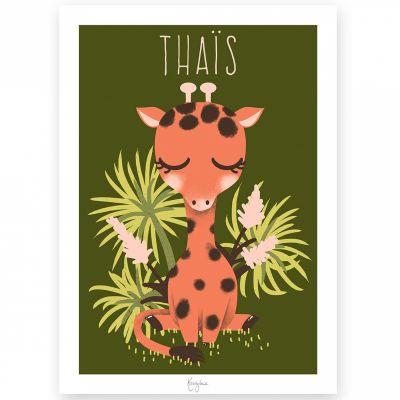 Affiche A4 Les Animignons la girafe (personnalisable)  par Kanzilue