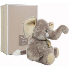 Coffret peluche éléphant gris bleuté (23 cm)