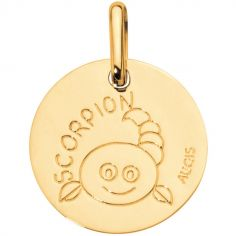 Médaille Zodiaque scorpion 14 mm (or jaune 750°)