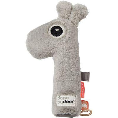 Hochet pouët Raffi la girafe gris (17 cm)  par Done by Deer