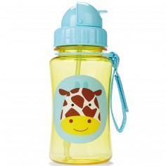 Gourde avec paille Zoo girafe jaune