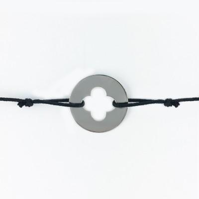 Bracelet cordon bébé médaille Signes Croix Romane 16 mm (or blanc 750°) Maison La Couronne