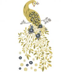 Sticker mural Floral Peacok (85 x 41 cm)