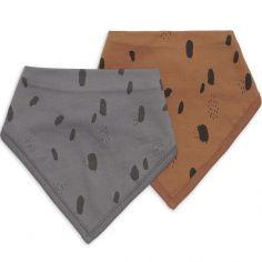 Lot de 2 bavoirs bandana Spot caramel et storm grey
