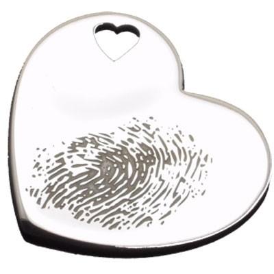 Pendentif empreinte coeur trou coeur avec mousqueton (argent 925°)   par Les Empreintes