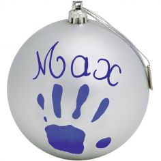 Boule de Noël décorative argent avec kit empreinte