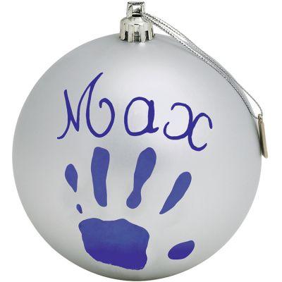 Boule de Noël décorative argent avec kit empreinte  par Baby Art