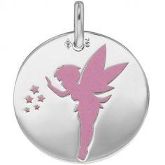 Médaille Fée personnalisable (acier rose et or blanc 750°)