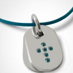 Collier cordon de baptême avec topazes bleues personnalisable (argent 925°)