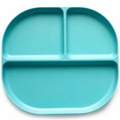 Assiette à compartiments en bambou Bambino turquoise lagon